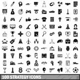100 ícones ajustados, estilo simples da estratégia Fotografia de Stock