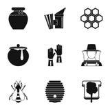 Ícones ajustados, estilo simples da exploração agrícola da apicultura ilustração do vetor