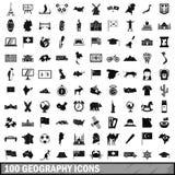 100 ícones ajustados, estilo simples da geografia ilustração royalty free