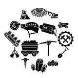 Ícones ajustados, estilo simples da mina de carvão ilustração do vetor