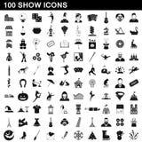 100 ícones ajustados, estilo simples da mostra ilustração do vetor