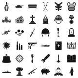 Ícones ajustados, estilo simples da ofensa da guerra ilustração do vetor