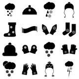 Ícones ajustados, estilo simples da roupa do inverno ilustração royalty free