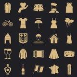 Ícones ajustados, estilo simples da roupa do nacional ilustração stock