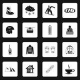 Ícones ajustados, estilo simples da snowboarding ilustração stock