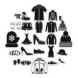Ícones ajustados, estilo simples da venda da roupa ilustração stock