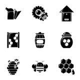 Ícones ajustados, estilo simples das ferramentas da apicultura ilustração do vetor