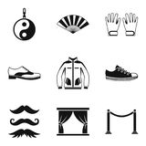 Ícones ajustados, estilo simples de Vogue ilustração stock