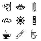 Ícones ajustados, estilo simples do abrandamento ilustração stock