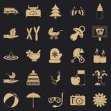 Ícones ajustados, estilo simples do abrandamento ilustração royalty free