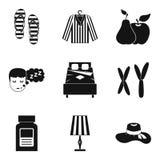 Ícones ajustados, estilo simples do acampamento da criança ilustração royalty free