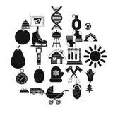 Ícones ajustados, estilo simples do acampamento da criança ilustração do vetor