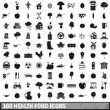 100 ícones ajustados, estilo simples do alimento natural Imagens de Stock Royalty Free