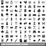100 ícones ajustados, estilo simples do campo Fotos de Stock