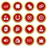 Ícones ajustados, estilo simples do casino ilustração stock