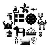 Ícones ajustados, estilo simples do curso da Suécia ilustração stock