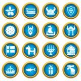 Ícones ajustados, estilo simples do curso da Suécia ilustração do vetor
