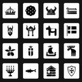 Ícones ajustados, estilo simples do curso da Suécia ilustração royalty free