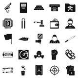 Ícones ajustados, estilo simples do delito leve ilustração stock