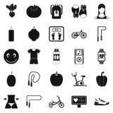 Ícones ajustados, estilo simples do emagrecimento ilustração stock