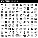 100 ícones ajustados, estilo simples do email Fotos de Stock Royalty Free