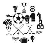 Ícones ajustados, estilo simples do equipamento de esporte ilustração stock