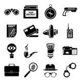 Ícones ajustados, estilo simples do espião ilustração royalty free