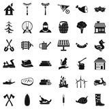 Ícones ajustados, estilo simples do fazendeiro Imagem de Stock