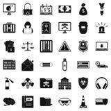 Ícones ajustados, estilo simples do hacker ilustração do vetor