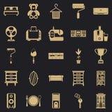 Ícones ajustados, estilo simples do lugar de moradia ilustração stock