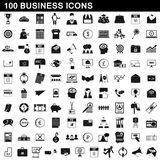 100 ícones ajustados, estilo simples do negócio ilustração stock