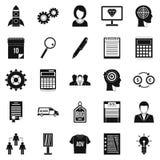 Ícones ajustados, estilo simples do negócio de SEO ilustração do vetor