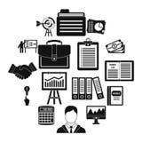 Ícones ajustados, estilo simples do plano de negócios Imagens de Stock Royalty Free