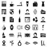 Ícones ajustados, estilo simples do salão de beleza ilustração stock