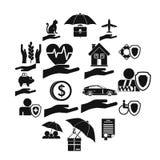Ícones ajustados, estilo simples do seguro Imagem de Stock