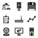 Ícones ajustados, estilo simples do serviço de atenção ilustração royalty free