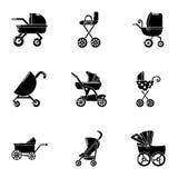 Ícones ajustados, estilo simples do side-car Imagem de Stock Royalty Free