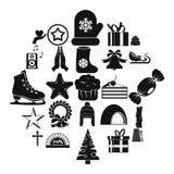 Ícones ajustados, estilo simples do Xmas ilustração stock