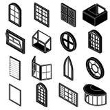 Ícones ajustados, estilo simples dos formulários da janela ilustração stock