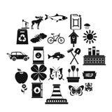Ícones ajustados, estilo simples dos recursos naturais Imagem de Stock