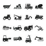 Ícones ajustados, estilo simples dos veículos da construção ilustração royalty free
