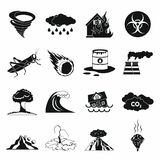 Ícones ajustados, estilo simples preto da catástrofe natural Foto de Stock