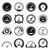 Ícones ajustados, estilo simples preto do velocímetro Fotos de Stock