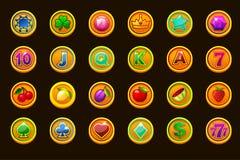 Ícones ajustados grandes do jogo em moedas douradas para slots machines ou casino Casino do jogo, entalhe, UI ?cones do vetor em  ilustração do vetor