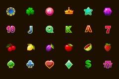 Ícones ajustados grandes do jogo para slots machines ou casino em cores diferentes Casino do jogo, entalhe, UI Ícones do vetor em ilustração do vetor