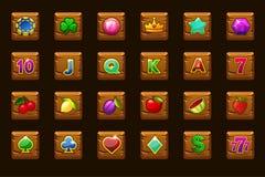 Ícones ajustados grandes do jogo para slots machines ou casino no quadrado de madeira Casino do jogo, entalhe, UI ?cones do vetor ilustração do vetor