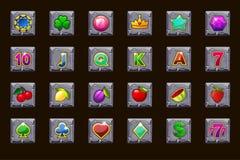 Ícones ajustados grandes do jogo para slots machines ou casino no quadrado de pedra Casino do jogo, entalhe, UI ?cones do vetor e ilustração royalty free