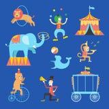 Ícones ajustados, ilustração do tema do circo do vetor Imagem de Stock