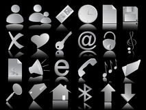 Ícones ajustados no preto Imagem de Stock