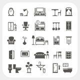 Ícones ajustados, objetos interiores home da mobília Foto de Stock Royalty Free